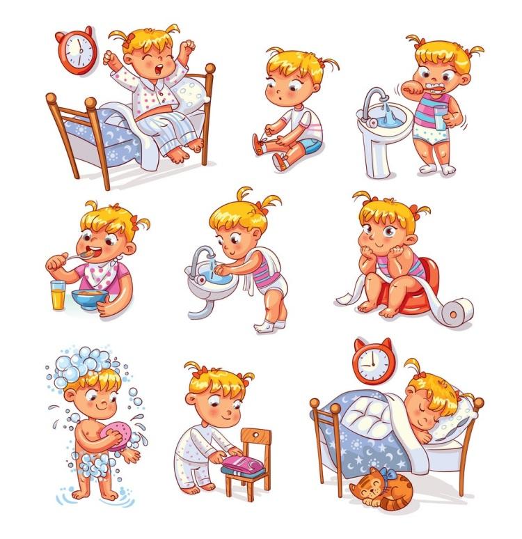 Cartoon kid daily routine activities set
